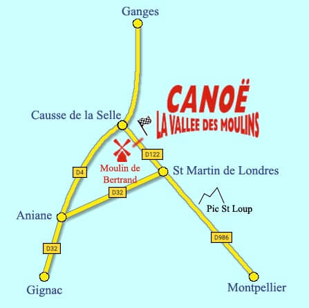 Canoe Vallee des Moulins plan acces Herault