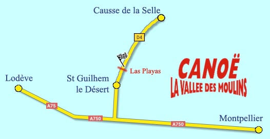 Canoe Vallee des Moulins Herault plan acces base Las Playas